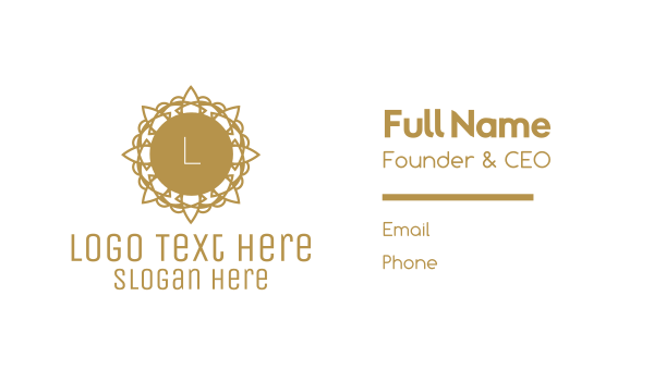 detailed - Golden Floral Lettermark Business card horizontal design