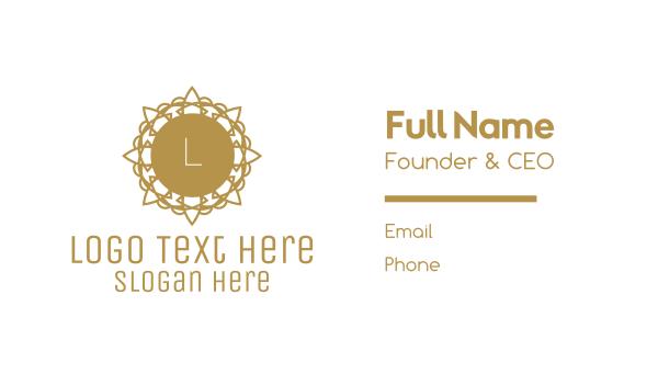 cosmic - Golden Floral Lettermark Business card horizontal design