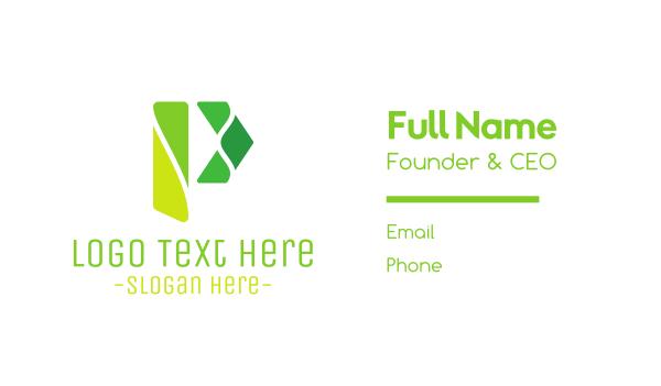 green arrow - Modern P Pieces Business card horizontal design