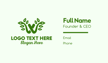 Natural Letter W Business Card