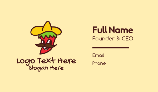 sombrero - Mexican Chili Pepper Business card horizontal design