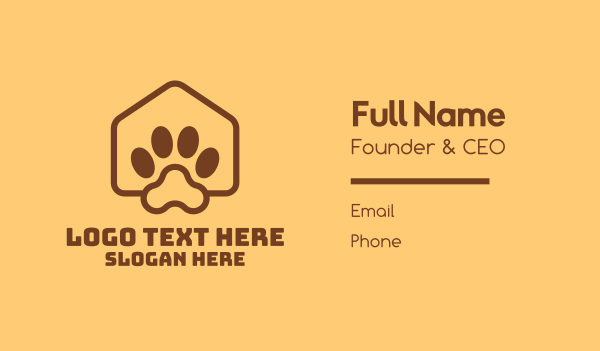 animal welfare - Animal Pet Paw Kennel Shelter Business card horizontal design