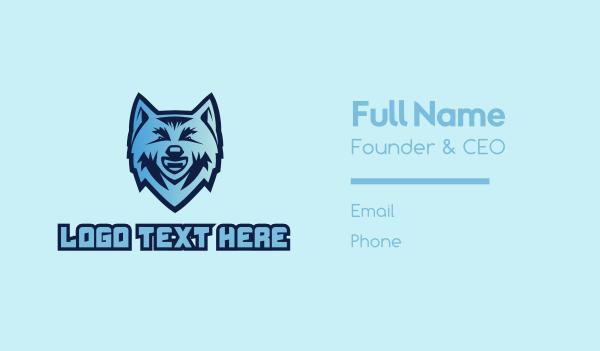 husky - Blue Wolf Mascot  Business card horizontal design