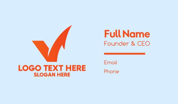 check mark - Orange Letter V Check  Business card horizontal design