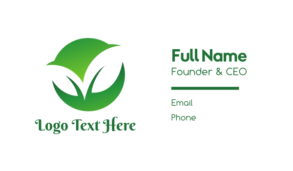 primitive - Green Two Leaf Business card horizontal design