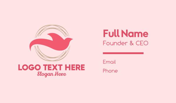 delicate - Elegant Dove Circle Emblem Business card horizontal design
