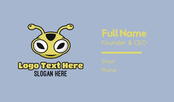 extraterrestrial - Alien Face Mascot Business card horizontal design