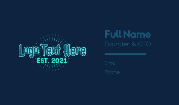 hacking - Glowing Spooky Gamer Wordmark Business card horizontal design
