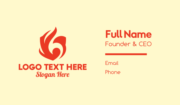 burning - Red Flame Shield Business card horizontal design