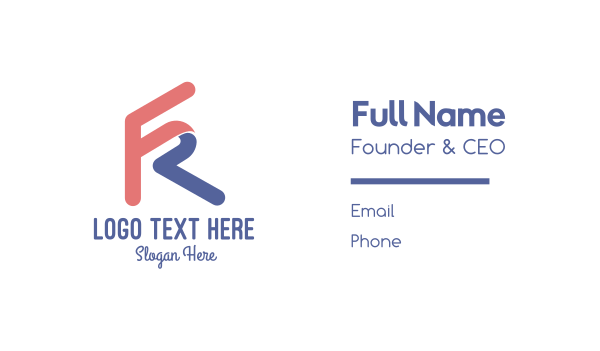 twitch streamer - Letter FR Gaming Business card horizontal design