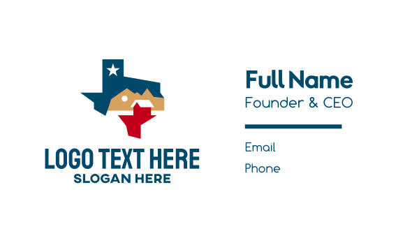 state - Texas Realty House Business card horizontal design