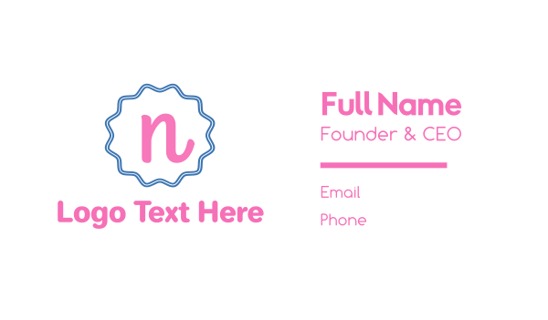 pink girl - Cute N Emblem Business card horizontal design