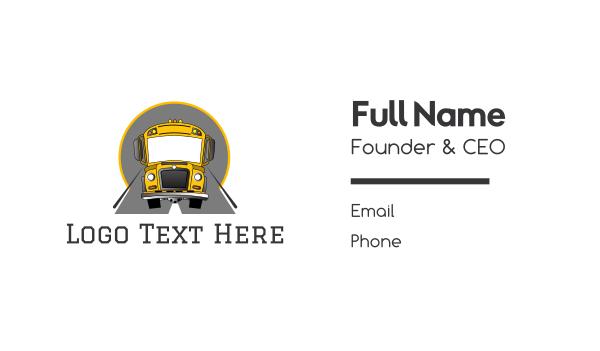 transportation - Yellow School Bus Business card horizontal design