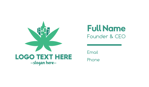 green tower - Cannabis City Leaf Business card horizontal design