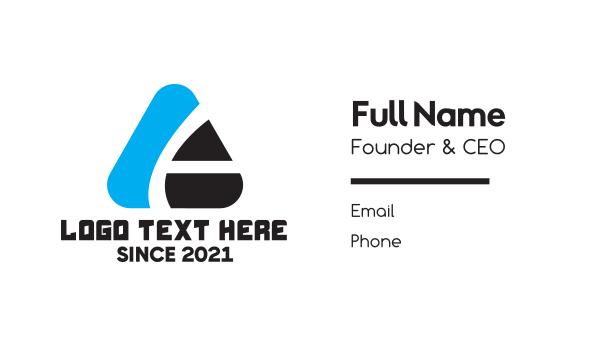 blue triangle - Triangle Tech A  Business card horizontal design