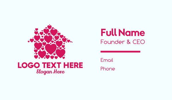 stay home - Cute Heart House  Business card horizontal design