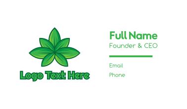Green Cannabis Weed Leaf Business Card