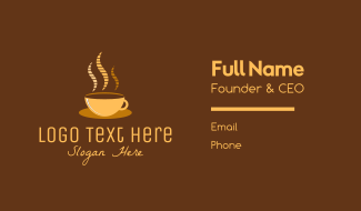 Hot Coffee Cafe Business Card