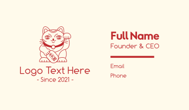 Lucky Chinese Cat Business Card