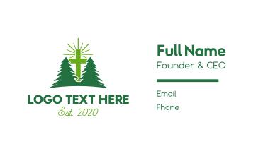 Forest Retreat Cross Business Card
