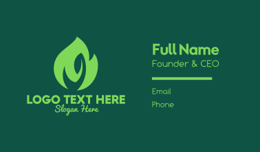 Green Natural Flame  Business Card