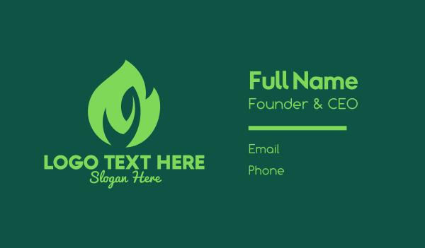 resource - Green Natural Flame  Business card horizontal design