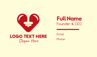 Red Barbell Heart Business Card