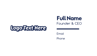 White & Blue Text Business Card