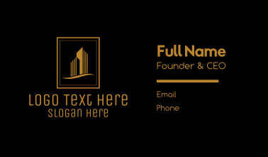 Gold Building Architecture Realty Emblem Business Card