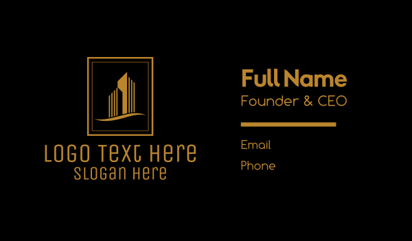 town house - Gold Building Architecture Realty Emblem Business card horizontal design
