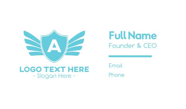 blue angel - Angel Winged Shield Business card horizontal design