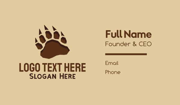 archeology - Wild Paw Print Business card horizontal design