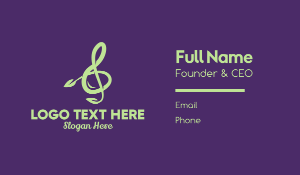 quarter note - Natural Music Class Business card horizontal design