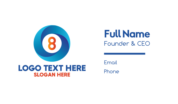 eight - Blue Ring Number 8 Business card horizontal design