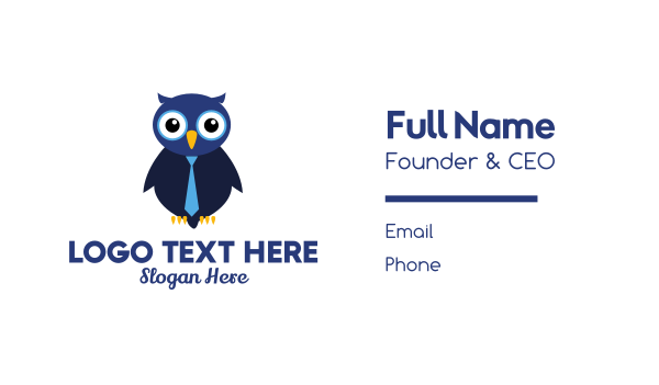 suit - Cute Blue Owl Business card horizontal design