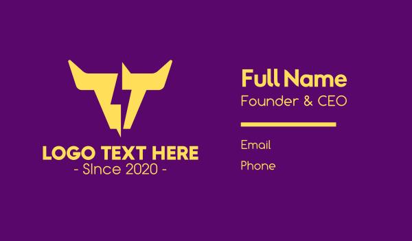 horns - Yellow Lightning Horns Business card horizontal design