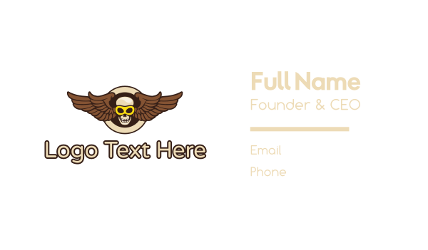 sun glasses - Goggle Skull Wing Business card horizontal design