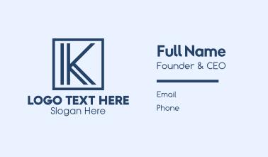 Minimalist Blue Letter K Business Card