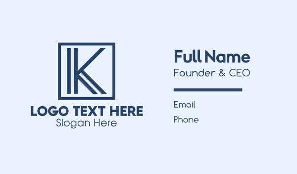 trade - Minimalist Blue Letter K Business card horizontal design
