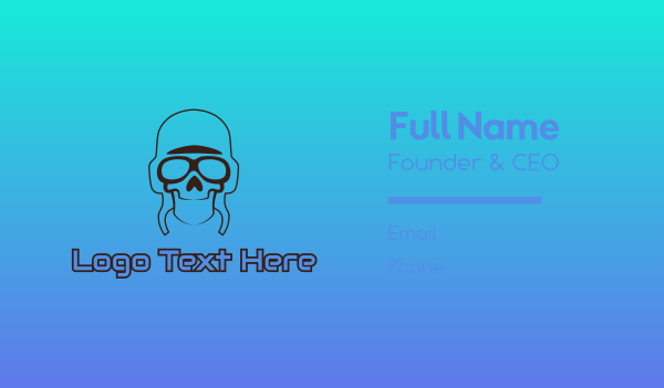 sun glasses - Skull Pilot Outline Business card horizontal design