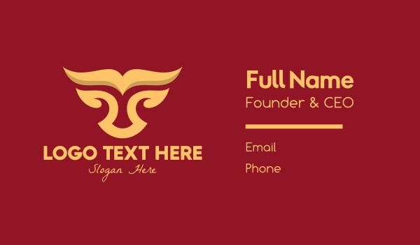 abstract animal - Gold Bull Business card horizontal design