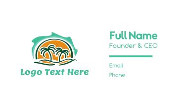 Island Waves & Palm Trees Business Card