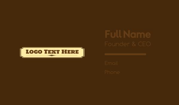 barn - Cowboy Wordmark Business card horizontal design