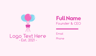 Party Ribbon Balloons Business Card