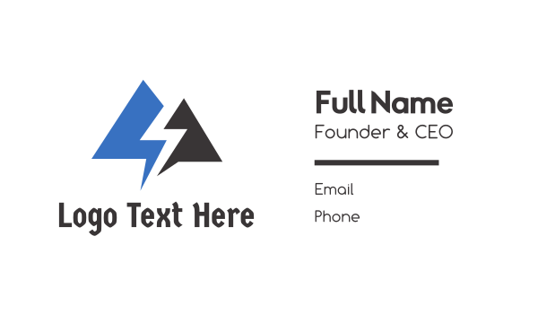 thunder - Blue Black Thunder Triangle Business card horizontal design