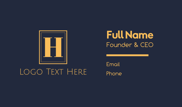 accommodation - Gold H Emblem Business card horizontal design