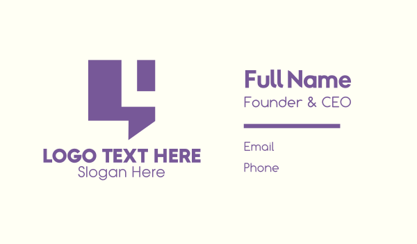 chat box - Purple Chat Letter L Business card horizontal design