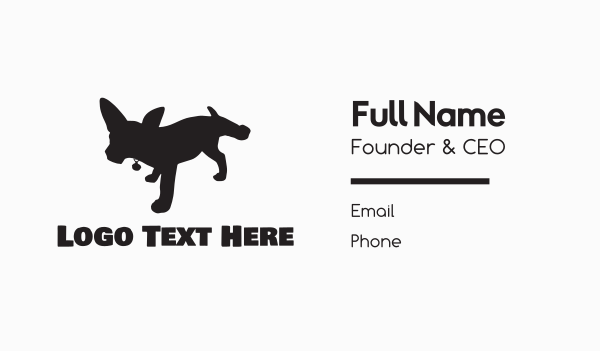 puppy school - Black Dog Silhouette Business card horizontal design