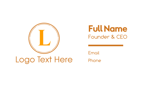 fudge - Gold Text Circle Business card horizontal design