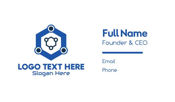 data - Blue Hexagon Technology Business card horizontal design
